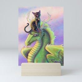 Black Cat Riding a Dragon Mini Art Print