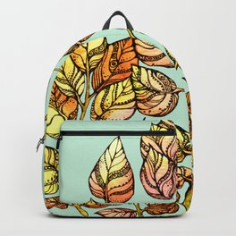 Hand drawn watercolor  golden leaves Backpack