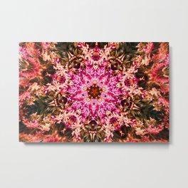 Flower fiesta in pink mandala art abstract print Metal Print