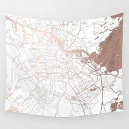 Amsterdam White on Rosegold Street Map Wall Tapestry