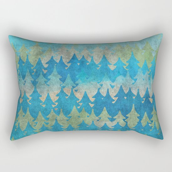 The secret forest - Abstract aqua turquoise Forest tree pattern Rectangular Pillow