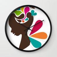 child Wall Clocks featuring Child by Irmak Akcadogan