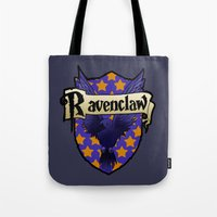 ravenclaw Tote Bags featuring Ravenclaw Crest by AriesNamarie