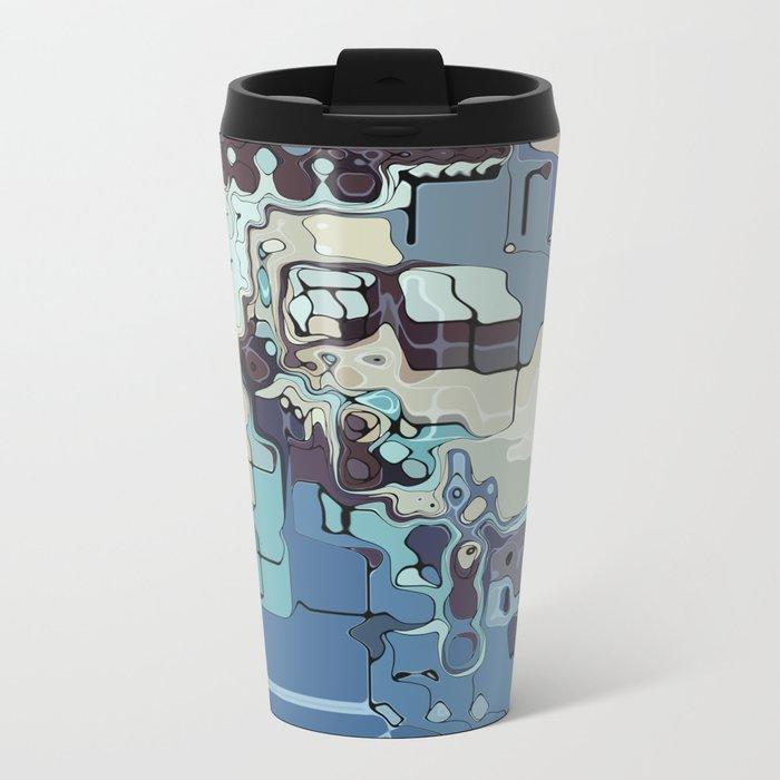 Blue And Green Pastels Abstract Metal Travel Mug