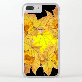Golden Yellow Fall Leaves Sunflower Black Design Pattern Art Clear iPhone Case