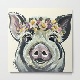 Pig Art, Flower Crown Pig, Farm Animal Metal Print