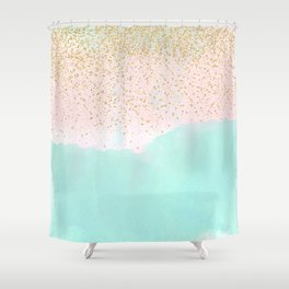 Watercolor abstract and golden confetti design Shower Curtain