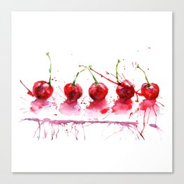 Bright cherry. Hand drawn watercolor illustration. Watercolor berries. Canvas Print
