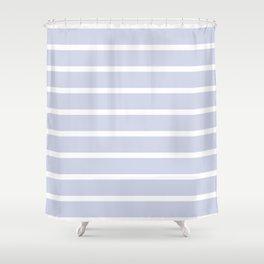 Foggy Blue and White Nautical Stripes Shower Curtain