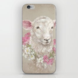 Sheep With Floral Wreath by Debi Coules iPhone Skin