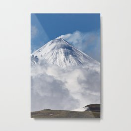 Beautiful mountain landscape, stunning view of snowy cone of eruption volcano on Kamchatka Peninsula Metal Print