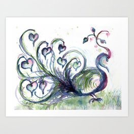 Peacock Pink Hearts watercolour by CheyAnne Sexton Art Print