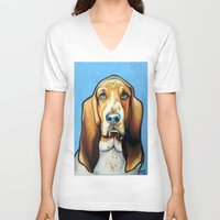 the hound V-neck T-shirts featuring Hound Dog by Animal Art By Sarah