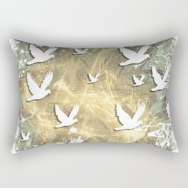 Birds on beige messy kaleidoscope Rectangular Pillow
