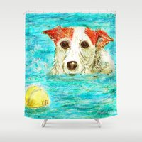 jack russell Shower Curtains featuring Jack Russell Terrier by gretzky