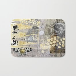 Grey Day Abstract Art Collage Bath Mat