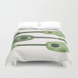 Hawaiian Ukuleles - Emerald Green Duvet Cover