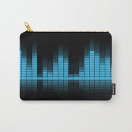Blue Graphic Equalizer on Black Carry-All Pouch