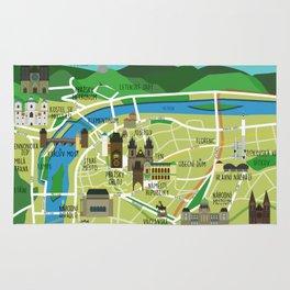 Prague map illustrated Rug