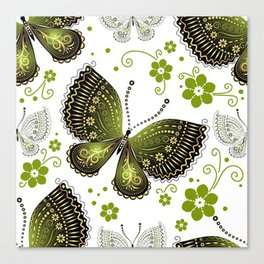 Colorful Butterflies and Flowers V16 Canvas Print