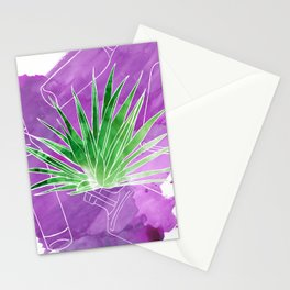 Ode to Mezcal - Espadin Agave Plant with Mezcal Bottles Watercolor Collage Stationery Cards