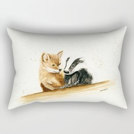 Friends (Fox and Badger) - animal watercolor painting Rectangular Pillow