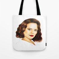peggy carter Tote Bags featuring Agent Carter by Olivia Nicholls-Bates