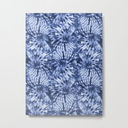 Dark Blue Tie Die Swirls Metal Print