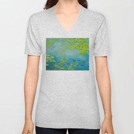 Claude Monet Impressionist Landscape Oil Painting Water Lilies Unisex V-Neck