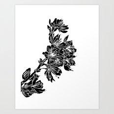 Cherry Blossom Block Print Art Print