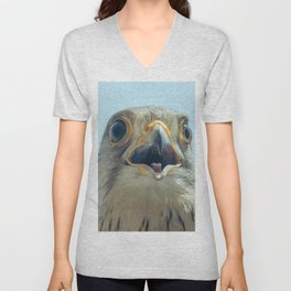Common Kestrel Portrait Beak Wide Open (Falco tinnunculus) European kestrel. Unisex V-Neck