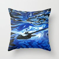 grateful dead Throw Pillows featuring Jerry Garcia Blues Acrylic Painting Grateful Dead by Acorn