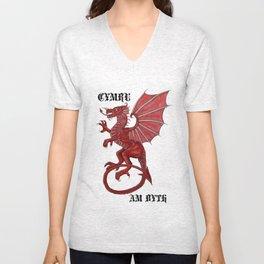 cymru am byth text Unisex V-Neck