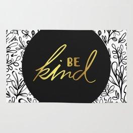 Be Kind Gold on Black Floral Pattern Rug
