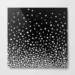 White Polka Dot Rain on Black Metal Print