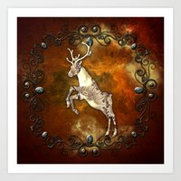reindeer Art Prints featuring Reindeer by nicky2342