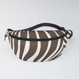 Zebra Stripes | Animal Print | Chocolate Brown and White | Fanny Pack