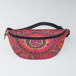 Pink Wildflower Sunshine I // 18th Century Colorful Pinkish Red Blue Sapphire Metallic Happy Pattern Fanny Pack