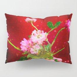 Girl holding wild clover flowers - by Brian Vegas Pillow Sham