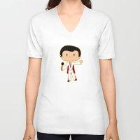 elvis presley V-neck T-shirts featuring Elvis Presley by Sombras Blancas Art & Design
