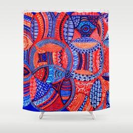 Blue & Orange Cluster of Energy Orbs Shower Curtain