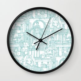Ancient Greece teal white Wall Clock