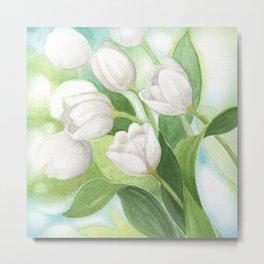 White dream tulips Metal Print
