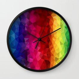 Rainbow Polygons Wall Clock