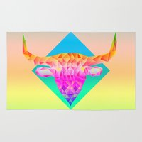 bull Area & Throw Rugs featuring Bull  by Anders Teigene
