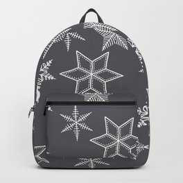 Simple Snowflakes On Grey Background Backpack