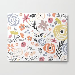 Floral Collage on White Metal Print