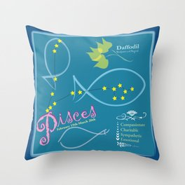March Pisces Throw Pillow