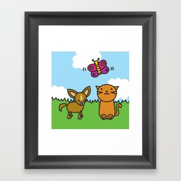 Butterfly, Cat and Dog Framed Art Print