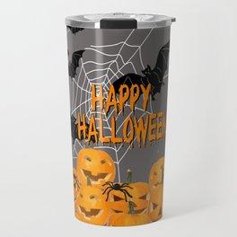 Pumpkins Happy Halloween Illustration Travel Mug
